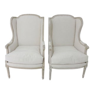 Antique Bergere Wingback Chairs - A Pair