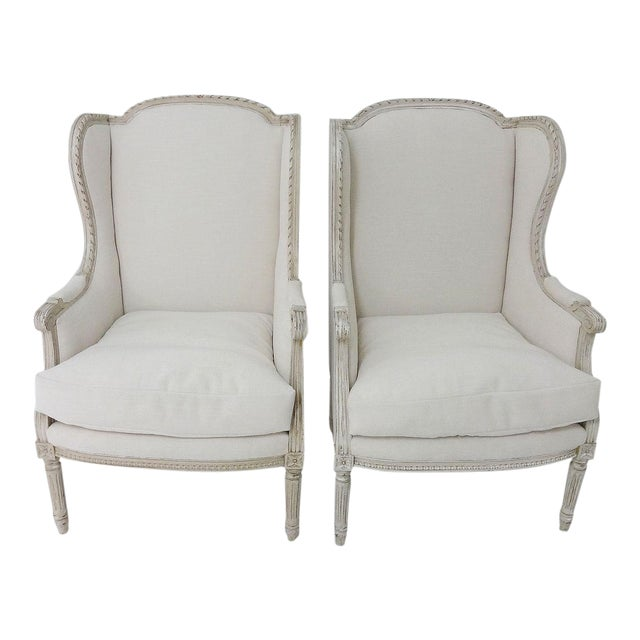Antique Bergere Wingback Chairs - A Pair - Image 1 of 8