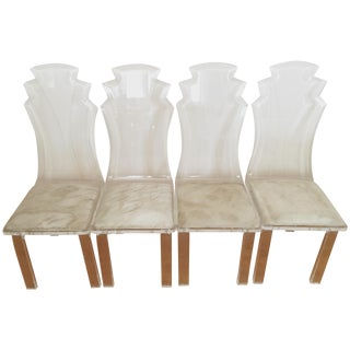 Vintage Lucite Shellback Dining Chairs - Set of 4