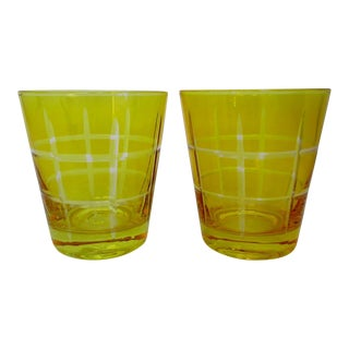 Etched Double Old Fashioned Glasses - A Pair