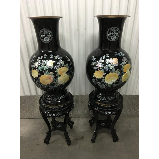 Asian Mother of Pearl Vases on Stands - A Pair - Image 2 of 11