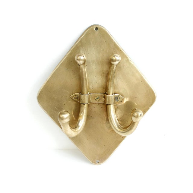 Vintage Mid-Century Brass Double Wall Towel Hook - Image 2 of 6