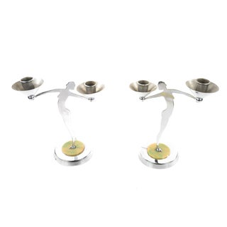 Art Deco Dancers Nude Chrome Candle Holders