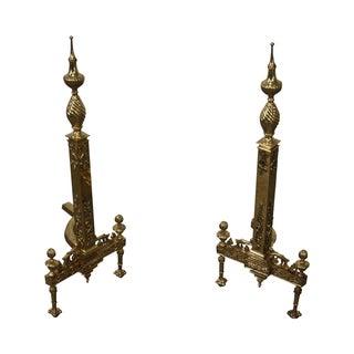 Vintage Brass Regency Style Andirons - Pair