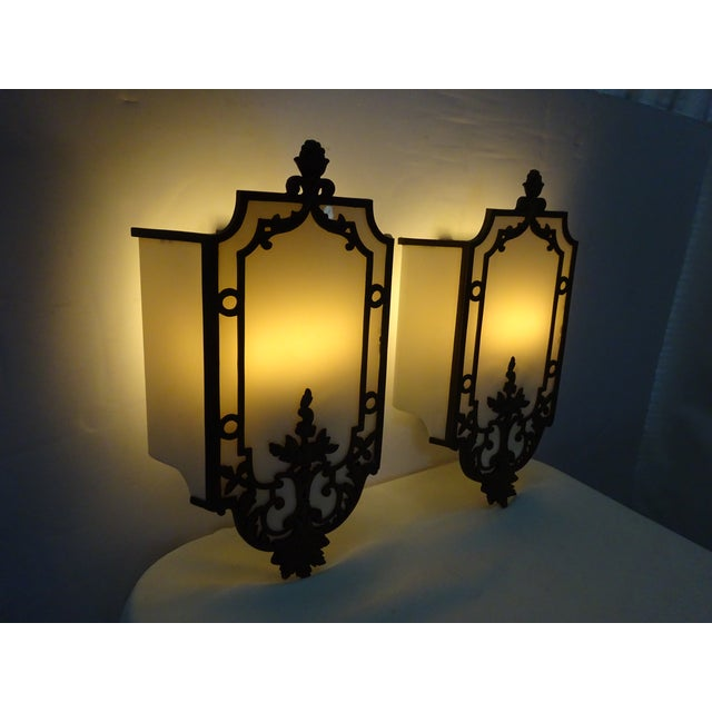 Sterling Bronze Co. Antique Deco Sconces - A Pair - Image 6 of 9