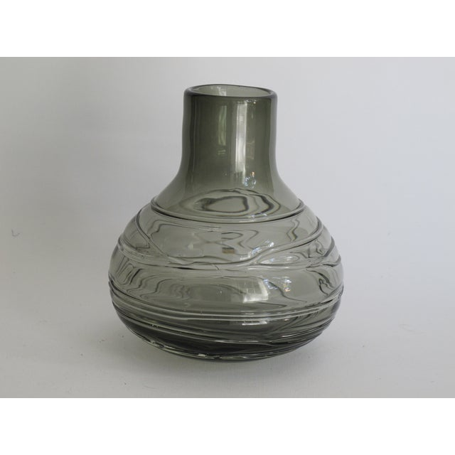 Image of Blown Smoky Glass Vase with Applied Decoration