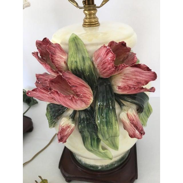 Anne Vosseller Porcelain Ginger Jar Parrot Tulip Barbotine Lamp - a Pair - Image 10 of 11