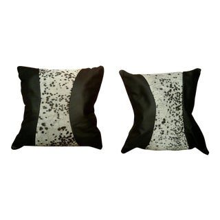 Black Leather & Cowhide Pillows - A Pair