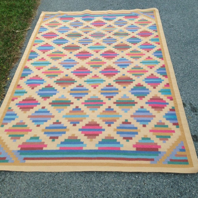 Flat Woven Wool Kilim Rug- 6' x 9' - Image 2 of 10