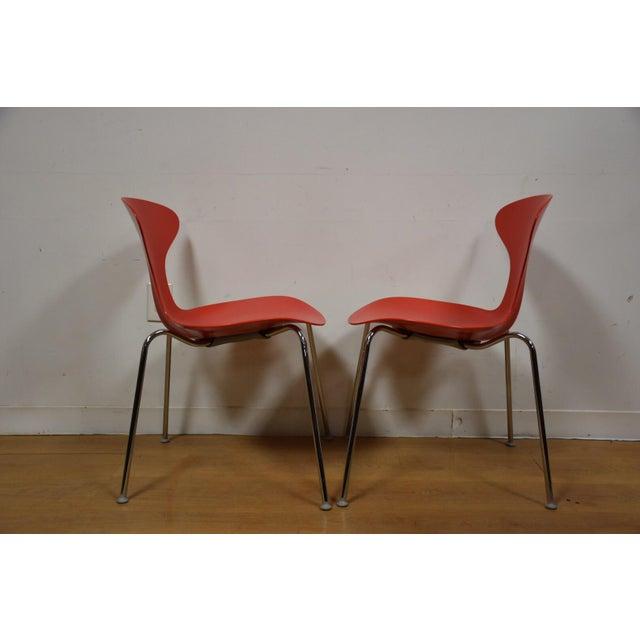 Bernhardt modern chrome red dining chairs set of 10 for Modern chrome dining chairs