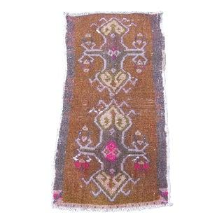 """Turkish Brown Wool Pile Small Vintage Rug - 1'4"""" x 2'9"""""""