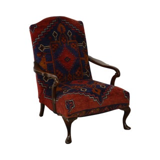 Antique Persian Rug Upholstered Lounge Arm Chair