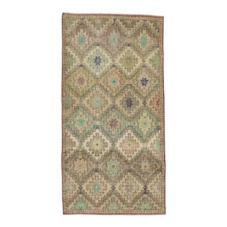 Vintage Turkish Art Deco Hand-Knotted Rug - 3′7″ × 7′1″