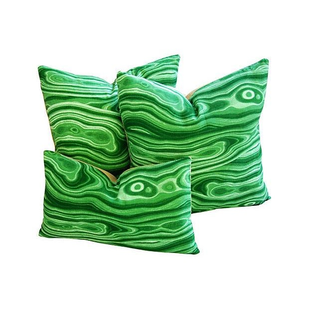 Custom Designer Emerald Malachite Pillows - Set 3 - Image 5 of 6