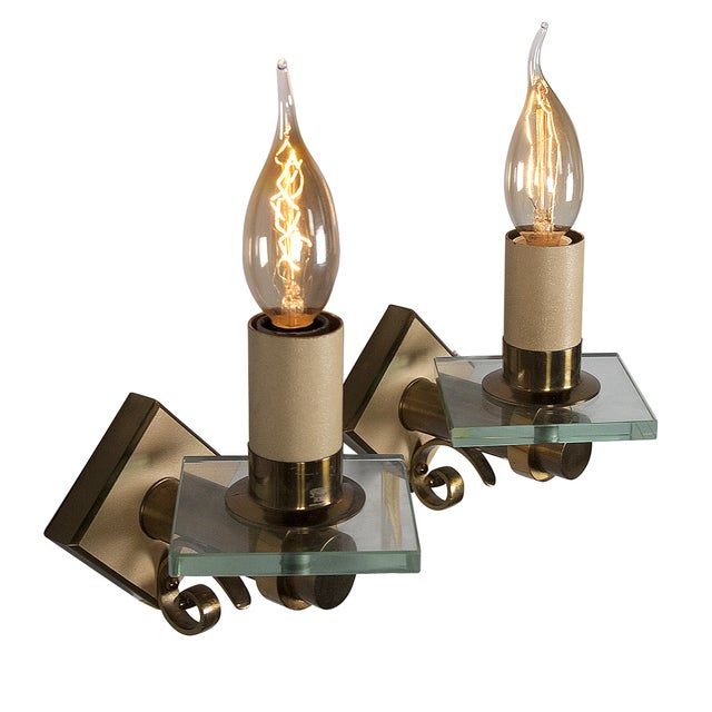Fontana Arte Style Single Light Sconces - Pair - Image 1 of 7