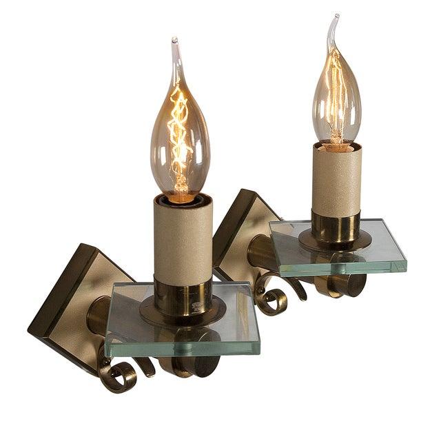 Image of Fontana Arte Style Single Light Sconces - Pair