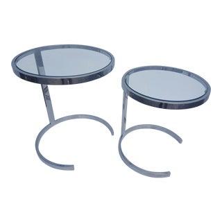 Milo Baughman Heavy Steel Flat Bar Chrome Nesting Tables Set Of -2