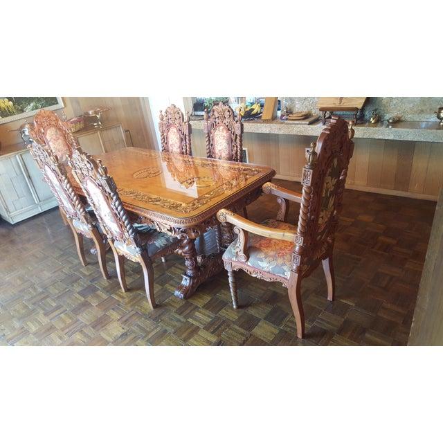 Rare Antique Narra Wood Dining Set - Image 3 of 11
