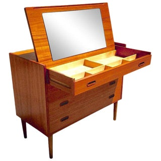 Danish Modern Teak Vanity Dresser