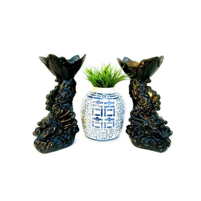 Asian Dragon Koi Figural Vases - A Pair - Image 4 of 10