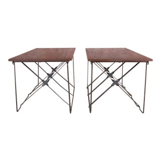 Vintage Industrial X-Base Wood and Metal Mid-Century Modern End Tables