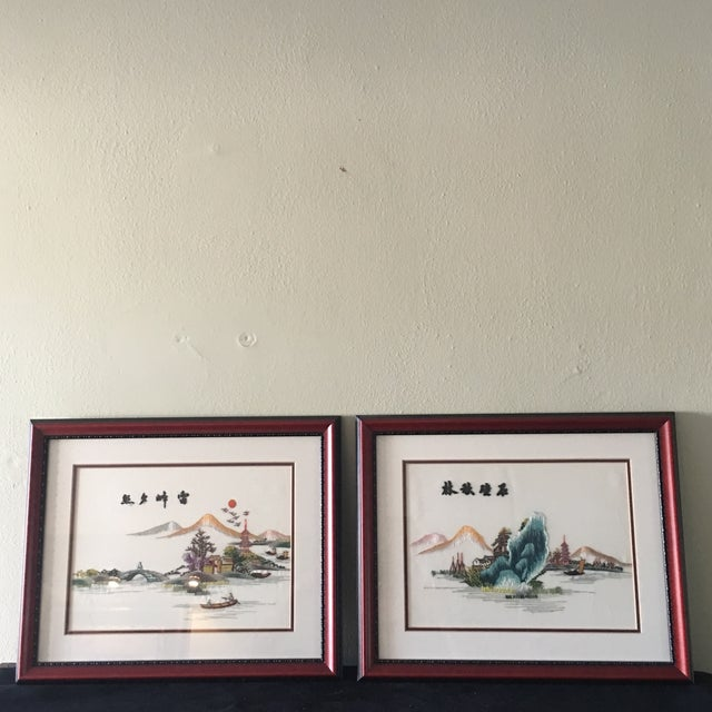 Vintage Chinese Hand Embroidered Wall Art - A Pair - Image 2 of 8