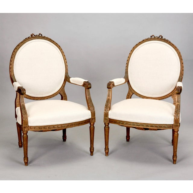Pair Louis Xvi Oval Back Gilded Frame Fauteuils Chairish