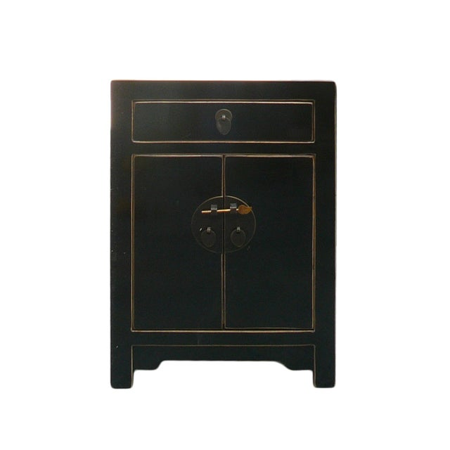 Image of Black Lacquer Round Moon Face End Table Nightstand