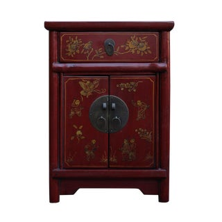 Chinese Rustic Red Lacquer Graphic End Table Nightstand