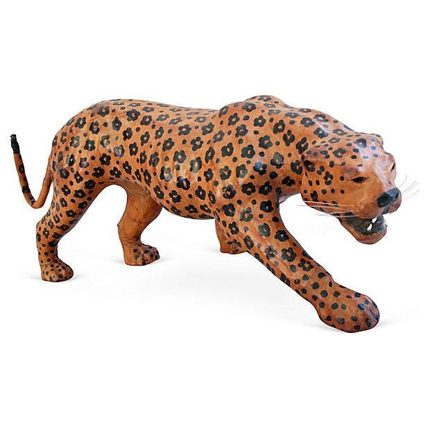 "Vintage Large 31"" Hand-Painted Leather Jaguar - Image 2 of 6"