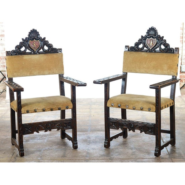 Spanish Renaissance -Carved Side Chairs -A Pair - Image 2 of 10