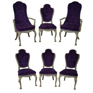 Vintage 1950s Purple Upholstered Dining Chairs - Set of 6