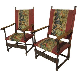 Antique French Needlepoint Chairs - A Pair