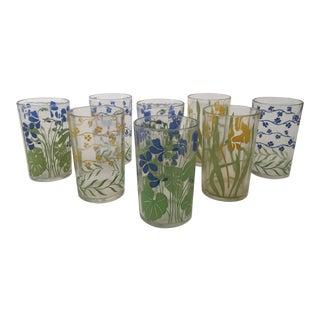 Vintage 1940s Miniature Floral Juice Glasses - Set of 8