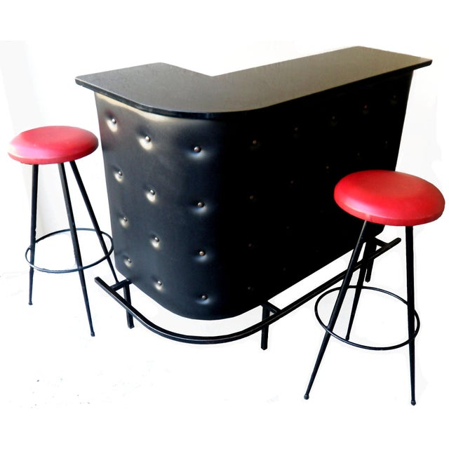 Vintage French Jacques Adnet Bar and 2 Stools - Image 10 of 10