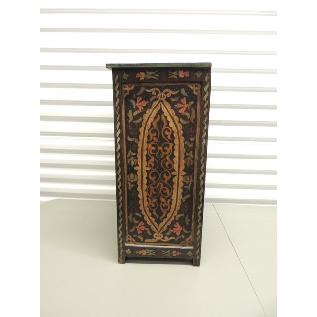 Black Hand painted vintage Indian night stand with Drawer - Image 4 of 5