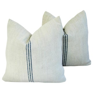 Custom French Grain Sack Textile Pillows - Pair