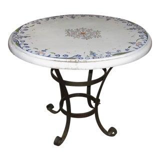 Italian Antique Style Wrought Iron & Ceramic Top Garden Table