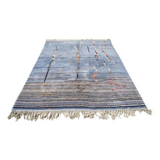 "Moroccan Light Blue Abstract Rug- 6'5"" x 9'"