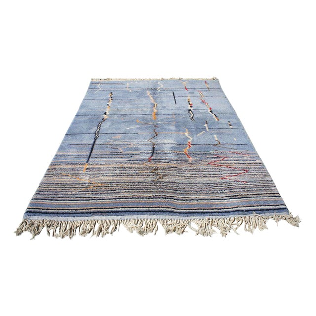 """Moroccan Light Blue Abstract Rug- 6'5"""" x 9' - Image 1 of 7"""