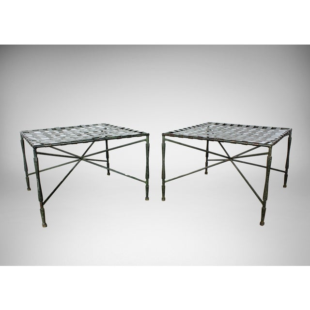 Image of John Salterini Architectural Iron Benches - A Pair