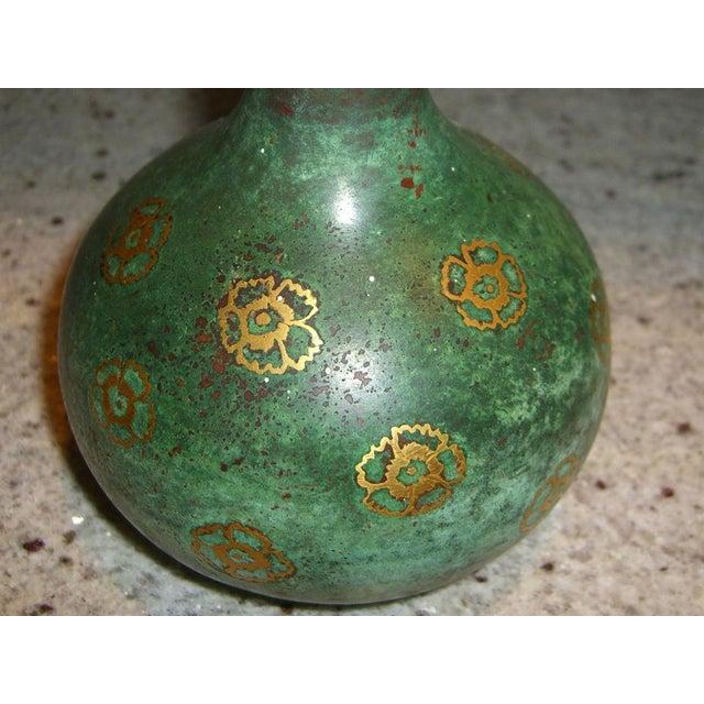 Image of Beautifully patinated inlaid Christofle bronze vase
