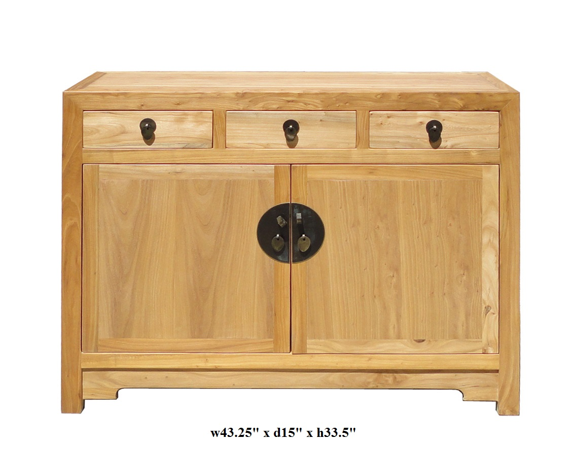 Fine Finish Raw Wood Console Side Table Cabinet   Image 2 Of 5
