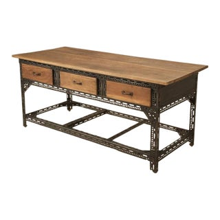 Industrial French Steel & Walnut Table