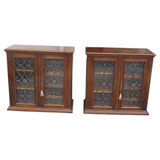 Mission Style Walnut Spanish Locking Wine Cabinets - A Pair