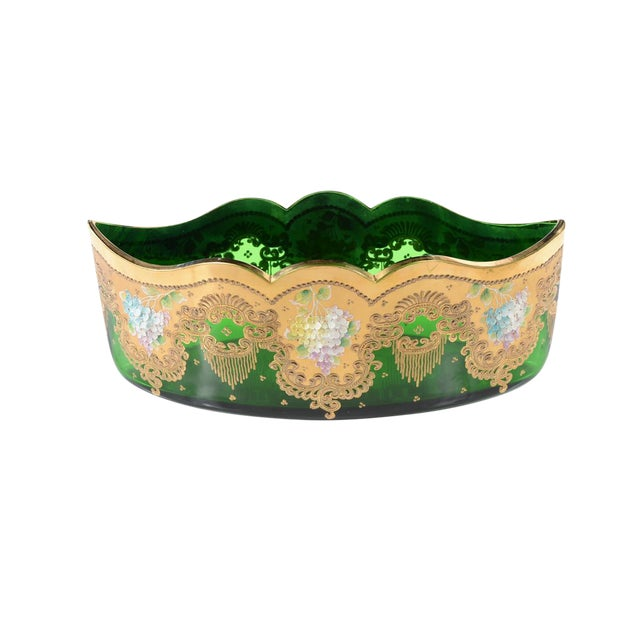 Moser Bohemian Emerald Green Glass Centerpiece - Image 1 of 9