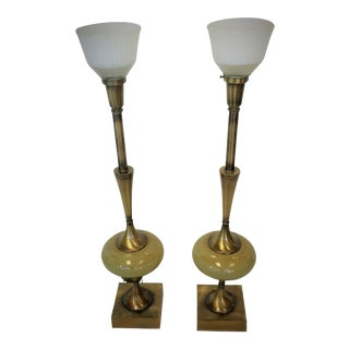 Rembrandt Brass & Ceramic Lamps - A Pair