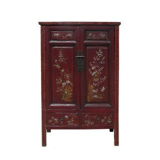 Vintage Chinese Armoire with Flower & Bird Accents