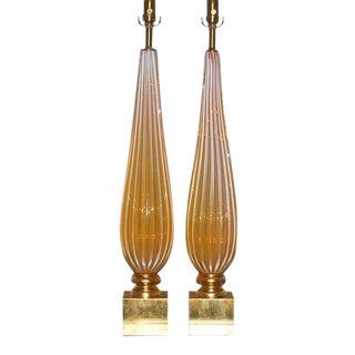 Orange Opaline Murano Lamps by Seguso