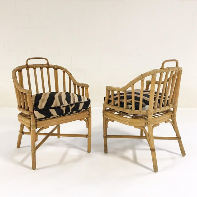 Forsyth Rattan Armchairs with Custom Zebra Hide Cushions - A Pair - Image 3 of 7
